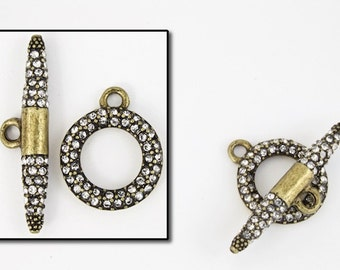 18mm x 15mm Antique Brass Pavé Toggle Clasp #CLD161