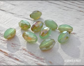 Pearls warheads faceted Seagreen iridescent 6 x 8 mm X 10
