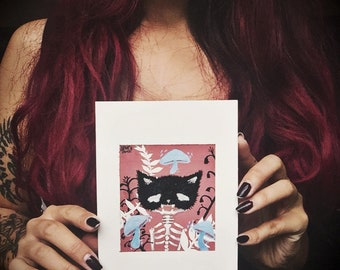 SKELLI CAT ORIGINAL / gouache illustration painting