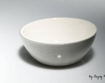 Small ceramic bowl handmade gray and white