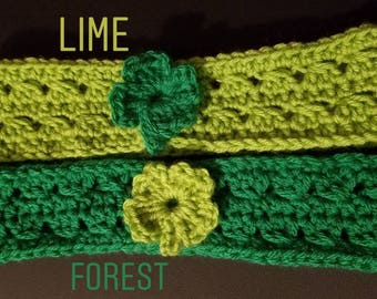 St. Patrick's Day Crochet 4 Leaf Clover Adult Headband