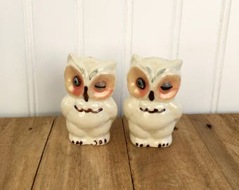 Vintage Shawnee Pottery Ceramic Winking Owl Salt and Pepper Shakers