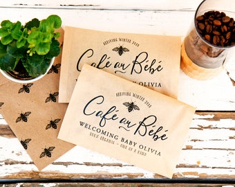 Baby Shower Coffee Favor - Cafe Au Bebe - Small Kraft Bags - French Theme Shower - Bee Design - 20 Kraft Paper Favor Bags