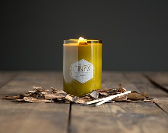 11 oz. Ember Fireside Wine Bottle Soy Candle - Men's Candle, Campfire Candle