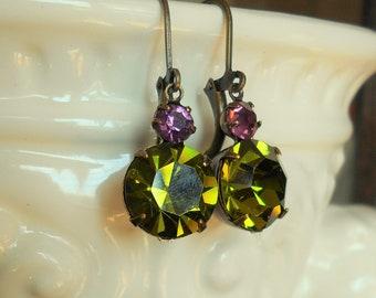 Vintage Swarovski rhinestone earrings Olivine green and purple prong set ox brass settings simple drop style double rhinestone earring