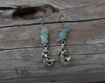 Pale Blue/Green Gemstone Mermaid Earrings | Hypoallergenic
