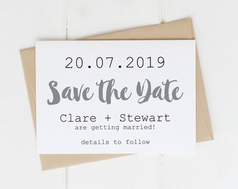 Save the Date Card | Modern Black and White | Minimalist Simple Wedding Announcement | White Neutral Design