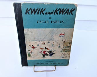 Vintage 1940s Book | Kwik and Kwak | Illustrated Book Pages | Duck Book | Childrens Book