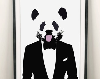 Panda Print (Limited Edition of 100) - A3 Vintage Retro Panda Poster Pop Art Cute Panda Street Art Print Panda Wall Art Bow Tie Panda Gifts