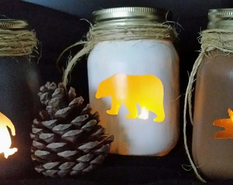 North Pole Animal Luminaries w/free tealight candle, Penguin, Polar Bear, Reindeer