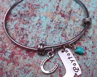 Personalized Bangle Bracelet Cowgirl Horse Lover Rider Cowboy Boot -  Southwest Turquoise Cowboy Boot Name - Adjustable silver Bangle -B25