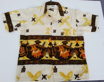 Vintage Hawaiian Aloha Shirt - By Tropicana Hawaii (1960s) - Warrior Pattern - Men's Large
