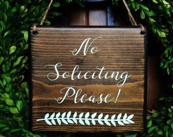 No Soliciting sign | 7x8 | Door Sign | No Soliciting Door Sign | Do Not Disturb Sign | No Solicitation Sign | No Strangers Sign | Door Decor