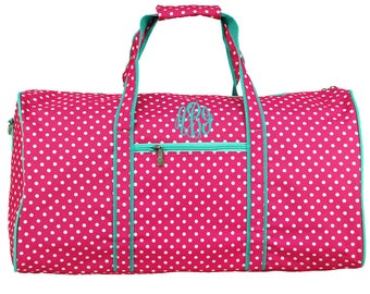 Monogrammed Duffle Bag | Overnight Bag | Personalized Travel Bag | Girls Travel Bag | Pink With White Polka Dots and Mint Trim Duffle Bag