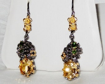 Natural 47 x 13 x 12mm Yellow Citrine gemstones, 14kt yellow Gold, Black Rhodium, Silver Pierced Earrings