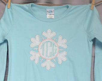 SnowFlake Monogram Applique Shirt or Onesie Boy or Girl
