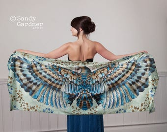 Owl Scarf shawl, holiday sarong, Barn Owl scarf, wing scarf, Owl gift, bird scarf, Barn Owl Scarf, Winged scarf, bird wings, fairy wing