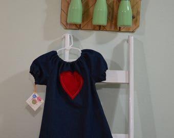 Denim Peasant Dress- 3T- Toddler Girl Dress