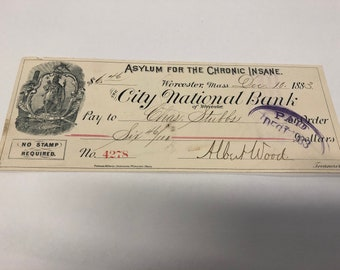 1883 Check from The Asylum For The Chronic Insane
