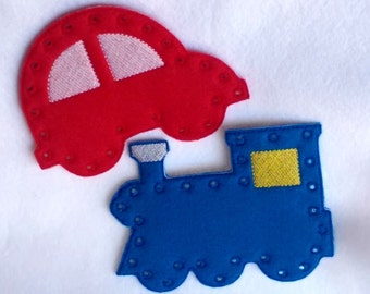 Car and Train lacing cards learn to sew sewing game educational learning toy #3864