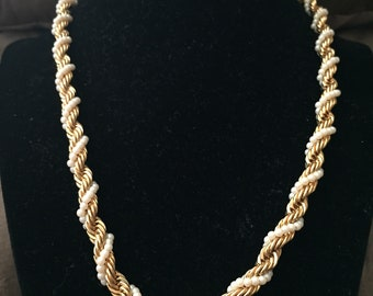 Vintage Goldtone and Braided Pearl Like Accent Rope Necklace, Length 19.75''