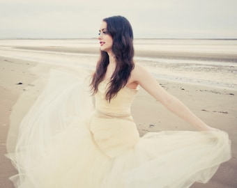 Claudia - Champagne Tulle Wedding Gown - MADE TO ORDER