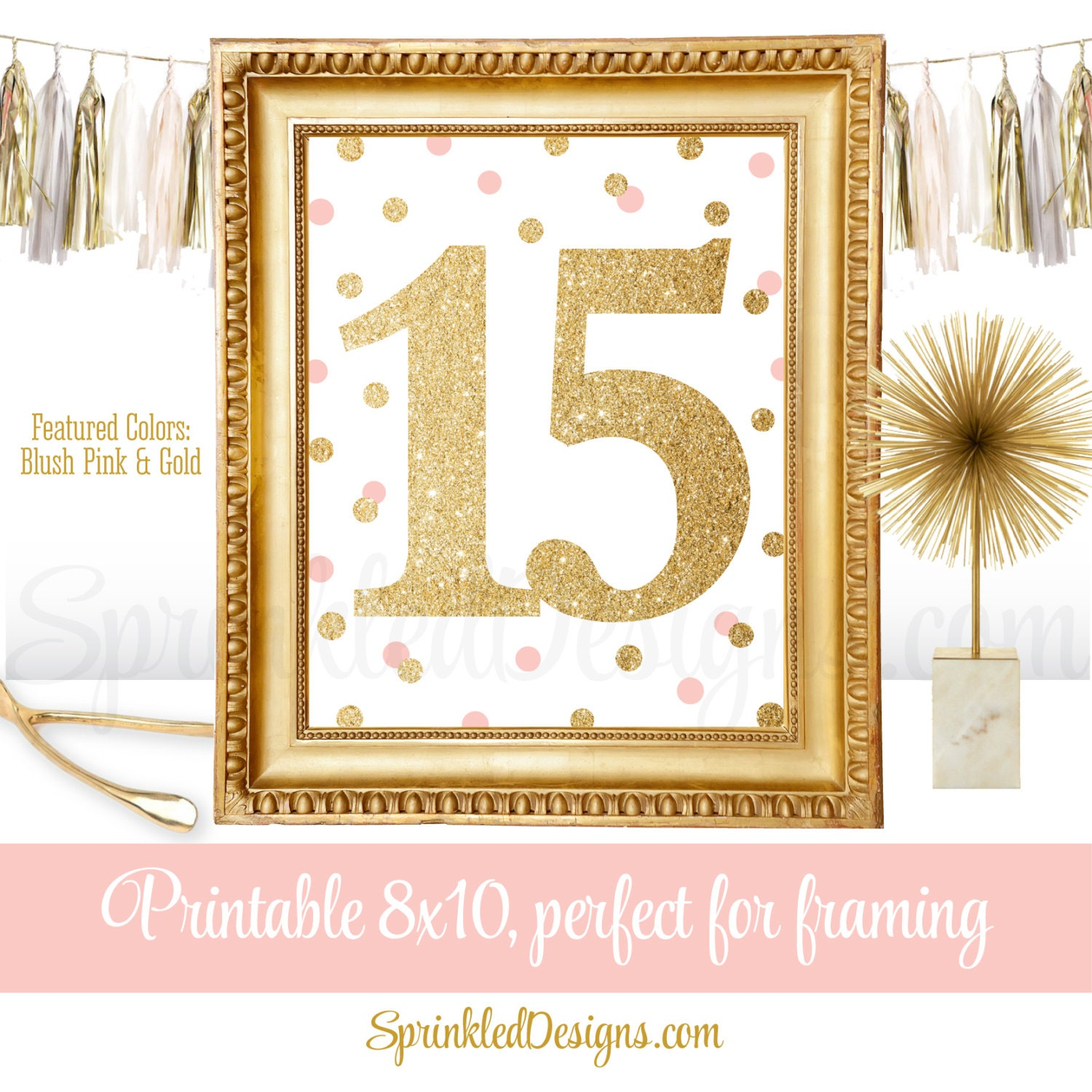 15th Birthday Party Sign Fifteenth Birthday Number Fifteen