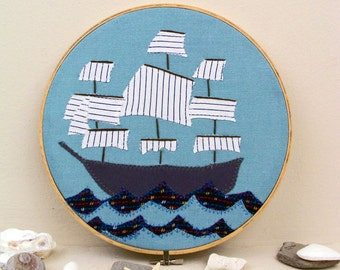 Nautical Ship Patchwork Fabric Embroidery Hoop Art