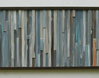 Distressed Reclaimed Wood Wall Art Sculpture Modern Painting  Rustic Abstract Blue