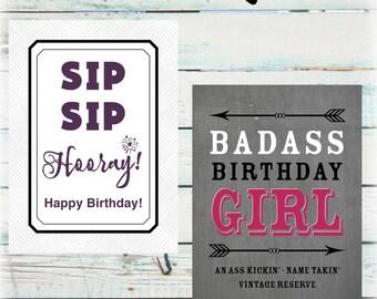 Birthday Wine Bottle Labels - DIY Birthday Wine Labels