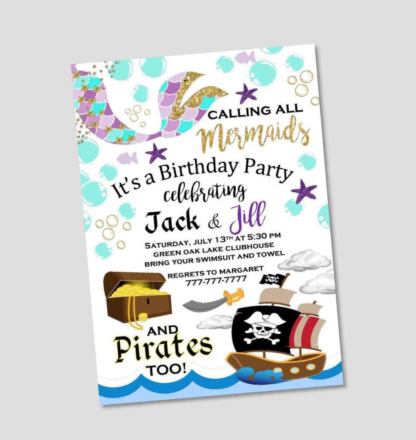 Mermaid and Pirate Birthday Invitation Twin Invitation Boy