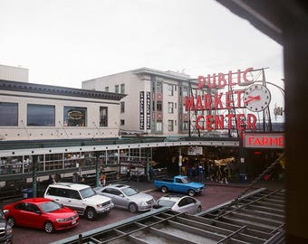 Patriotic Public Market - Seattle, Washington, travel photography, red white and blue, film, Pacific Northwest