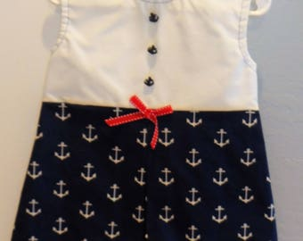 Girl 18 months bodice pleated dress (anchors)