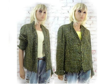 women's green jacket -ladies's dress jacket -elegant jacket - Boho jacket - lined jacket -- 90's jacket - women's blazer -    # 149