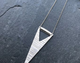 Handmade Modern Original Recycled Fine Silver Stering Rolo Chain Triangle Cut Out Geometric Striped Pattern Pendant Necklace Reversible