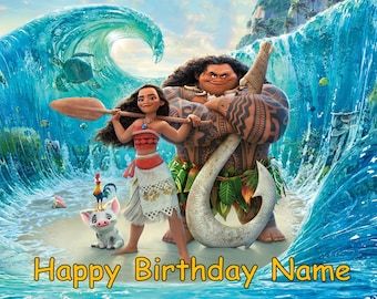 "Moana Disney Edible Image Cake Topper Personalized Birthday 1/4 Sheet or 8"" Round"