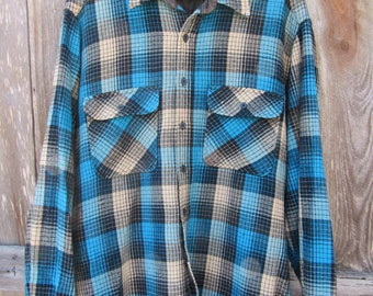 80s Sears Roebuck Plaid Wool Shirt, Men's L // Vintage Blue Winter Shirt // Plaid Outdoor Shirt