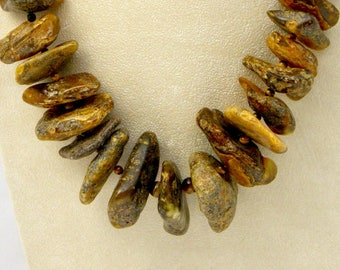 """21"""" Natural Baltic AMBER Huge Chunky Necklace GF Clasp Tiger Eye 185 Grams"""