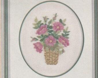 Helen Burgess Counted Thread Design. Rose & Poppy Basket Pattern. HB502