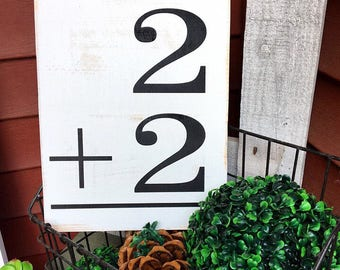 Family flashcards, Flashcard, Wood sign, Rustic wood signs, 2+2
