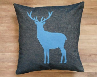 Deer Pillow Cover, Blue Denim Fabric, decorative throw pillow, Felt Deer Applique, Cabin Decor