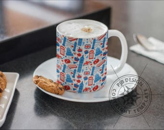 Template for Dye Sublimation or Waterslide 10oz Mugs - London Theme - Commercial Use