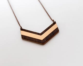 Oak and rosegold color intarsia chevron necklace - modern and elegant, bronze and natural wood