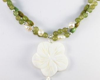 """Aventurine and Green Turquoise Multistrand necklace with carved flower shell pendant """"Mojito"""""""