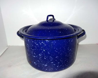 Blue with White Dots Enameled Round Roasting Pan Home and Garden Kitchen and Dining Cooking and Bakeware Cookware Casserole Dishes