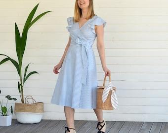 Iris striped dress, ready to ship, cotton dress, prom wedding dress, summer dress, striped dress, boho dress, romanic, wrap dress