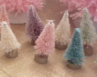 "10 bottle brush trees 1 1/2"" size PASTELS light snow teeny tiny vintage style"
