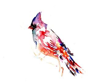 Cardinal Watercolor Painting, Watercolor Print of Bird, Cardinal Painting, Cardinal Print, Abstract Bird Painting, Red Bird Painting