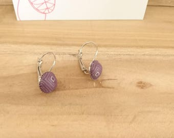 Earrings SLEEPERS FINESS Burgundy and silver ball