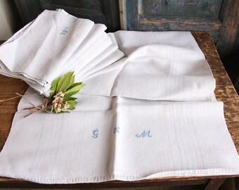 D 136:  handloomed linen antique charming TOWEL napkin LAUNDERED EASTER Spring decoration 리넨